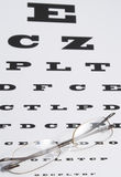 Vision Care. Concept - a pair of glasses and eye chart Royalty Free Stock Photo