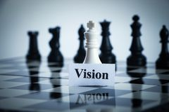 Vision chess. Chess Vision concept is on the chess board stock photos
