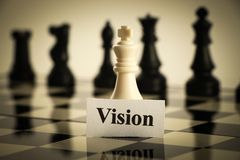 Vision chess. Chess Vision concept is on the chess board royalty free stock photo