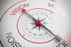 Vision compass. Compass arrow pointing to the word vision Stock Photo