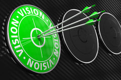 Vision Concept on Green Target. Vision Concept. Three Arrows Hitting the Center of Green Target on Black Background stock photos