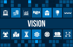 Vision concept image with business icons and copyspace. Royalty Free Stock Images