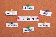 Vision concept. Paper words are pinned on cork royalty free stock image