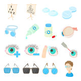 Vision correction icons set, cartoon style Stock Images