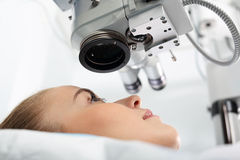 Vision correction. A patient in the operating room during ophthalmic surgery Stock Photo