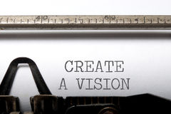 Vision. Create a vision printed on a vintage typewriter Stock Image