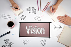 Vision Creative Ideas Design Concept. The meeting at the white office table. Vision Creative Ideas Design Concept. The meeting at the white office table stock image