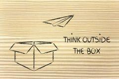 Vision d'affaires : pensez en dehors de la boîte Images libres de droits