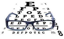 Vision d'essai de lunettes en verre de diagramme d'oeil Images stock