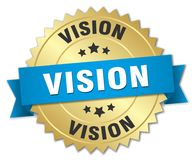 Vision 3d gold badge. With blue ribbon Royalty Free Stock Photo