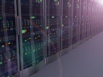 vision 3d nocturne des serveurs de réseau d'ordinateur Photos stock