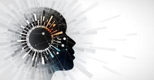 Vision de cirle d'intelligence artificielle Fond de Web de technologie Concentré virtuel Image stock