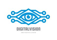 Vision de Digital - dirigez l'illustration de concept de calibre de logo Signe créatif abstrait d'oeil humain Technique de protec Photographie stock