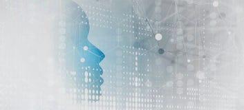 Vision de schéma d'intelligence artificielle Fond de Web de technologie Concentré virtuel Photographie stock