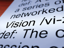 Vision Definition Closeup Showing Eyesight Or Goals Stock Image