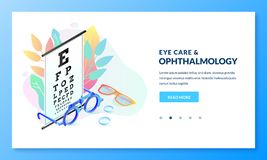 Free Vision Diagnostics Test. Ophthalmology Exam And Eye Care Vector Isometric Illustration. Landing Page Banner Design Stock Images - 139223264