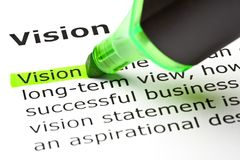 Vision Dictionary Definition Green Marker Stock Photo