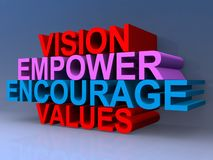 Vision empower encourage values illustration. 3D computer generated block text graphics vision, empower, encourage and values on blue royalty free illustration