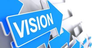 Vision - etiqueta en la flecha azul 3d Foto de archivo libre de regalías