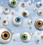 Vision and eye Ball Background. Vision and eyesight background concept with eyes floating in the sky as symbols of ocular health for near sighted and far sighted Stock Photo