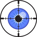 Eye vision. An eye with crosshair aimed at it Stock Photos