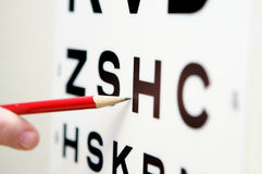 Vision eye test chart. Test for 20/20 vision Royalty Free Stock Photography