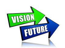 Vision future in arrows. Vision future - text in 3d arrows, business growth concept words Stock Photography
