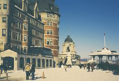 Vision of the Hotel frontenac in winter, Quebec Canada Stock Photos