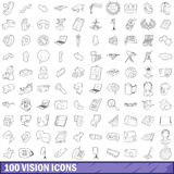 100 vision icons set, outline style Stock Photo