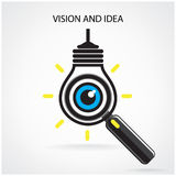 Vision and ideas sign,eye icon,light bulb symbol,search symbol Stock Images