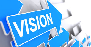 Vision - Label on the Blue Arrow. 3D. Royalty Free Stock Photo