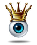Vision Leadership. Business concept symbol and best leader in security monitoring as a human eyeball wearing a gold crown on a white background as an icon of Stock Photos