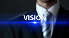 Vision, male in suit standing in front of screen, development strategy, future stock photos