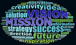 VISION MISION info text graphics. And arrangement concept (word clouds) on black background Royalty Free Stock Photo