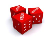 Vision mission action concept. Three red dice with the words ACTION, MISSION and VISION printed on top in white, isolated on a white background Stock Photo
