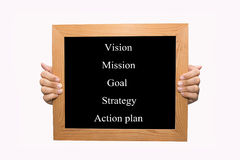 Vision - mission - goal - strategy - action plan Stock Photo