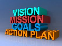 Vision, mission, goals, action and plan. Colorful 3D block lettering spelling vision, mission, goals, action and plan on purple stock illustration