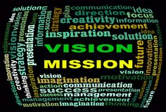 VISION MISSION info text graphics and arrangement concept. (word clouds) on black background Royalty Free Stock Photos