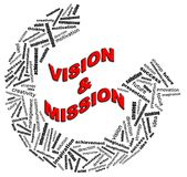 VISION & MISSION info text graphics. VISION & MISSION info text graphics and arrangement concept (word clouds) on white background Royalty Free Stock Images