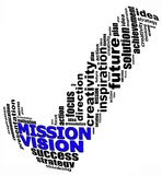 VISION MISSION info text graphics and arrangement concept. (word clouds) on white background Stock Photos