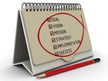 But, vision, mission, stratégie, exécution, succès Liste avec les marques illustration de vecteur