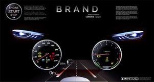 Vision nocturne Tableau de bord de voiture, projection, tachymètre speedometer illustration stock