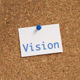 Vision. Note paper pinned on cork noticeboard Royalty Free Stock Image
