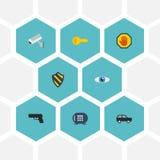 Vision plate d'icônes, bouclier, coffre-fort et d'autres éléments de vecteur Ensemble d'obtenir les icônes plates Photo stock