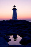 Vision and reflection at Peggy's Cove lighthouse Royalty Free Stock Image