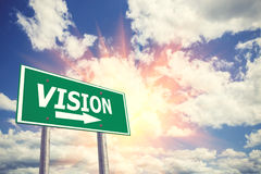 Vision road sing for business and financial concepts. Royalty Free Stock Images