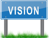 Vision Signpost. A blue signpost about vision on grass stock illustration
