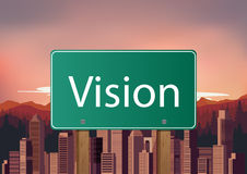 Vision signs on city background Royalty Free Stock Photos