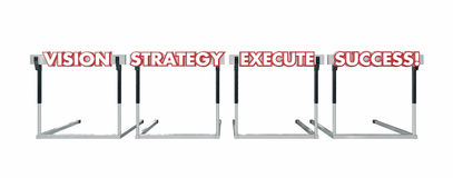 Vision Strategy Execution Success Jumping Over Hurdles Words Stock Image