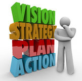 Vision Strategy Plan Action Thinker Beside 3D Words. Vision, Strategy, Plan and Action words in 3d letters beside a person thinking about what to do in business Stock Image
